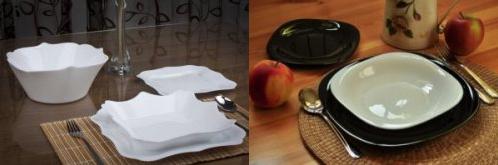 Zleva: jídelní sada Authentic White Luminarc, jídelní sada Carine Black & White Luminarc