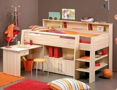 Dětská multifunkční postel s úložným prostorem 90x200 KURTY, buk