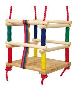Dřevěná barevná dětská houpačka