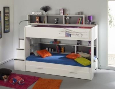 Dětská poschoďová postel pro tři děti 90x200 SWEN, bílá