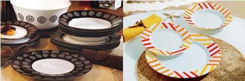 Zleva: jídelní sada Sirocco Brown Luminarc, jídelní servis Balnea Sun Luminarc