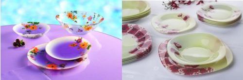 Zleva: jídelní sada Maritsa Purple Luminarc, Jídelní sada DIAPHANE Luminarc