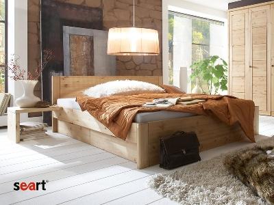 postel z masivu BRISTOL, z borovicového dřeva, cena:  20 389 Kč ve velikosti 160 cm x 200 cm (www.seart.cz)