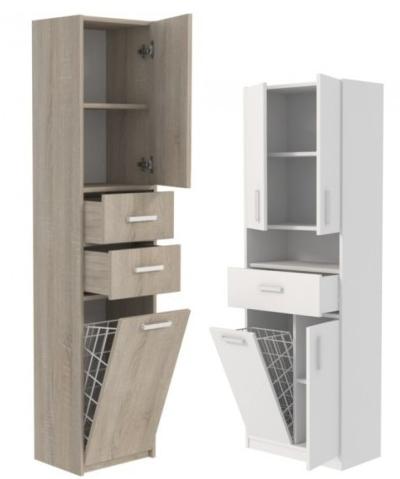 Vlevo: koupelnová skříňka šířka 30 cm s košem 2 police - šířka 30 cm, hloubka 30 cm, výška 173 cm. Vpravo: Koupelnová skříňka šířka 60 cm s košem 5 polic - šířka 60 cm, hloubka 30 cm, výška 174 cm